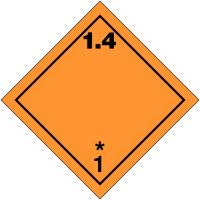 "Signalisation de transport international ""Matières et objets explosifs, N°1-4"""