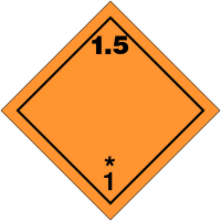 "Signalisation de transport international ""Matières et objets explosifs, N°1-5"""