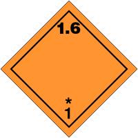 "Signalisation de transport international ""Matières et objets explosifs, N°1-6"""