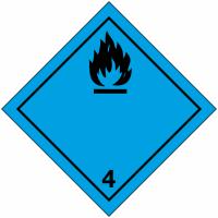 """Signalisation de transport international """"Dégage du gaz inflammable au contact de l'eau"""""""