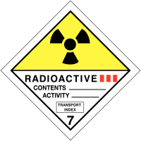 "Signalisation de transport international ""Matières radioactives, catégorie III"""
