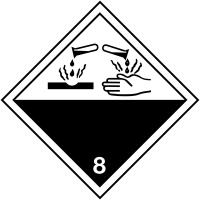 """Etiquettes de signalisation de transport international """"Matières corrosives"""""""