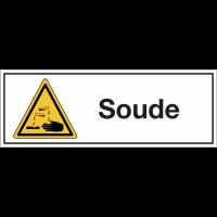 """Panneaux pour stockage de bouteille de gaz """"Danger, substances corrosives - Soude"""""""