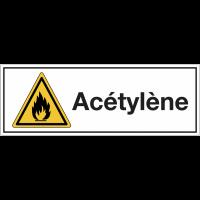 """Signalisation suspendue des produits dangereux """"Danger matières inflammables - Acétylène"""""""