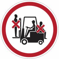 """Panneaux d'interdiction """"Passagers interdits sur le chariot élévateur"""""""