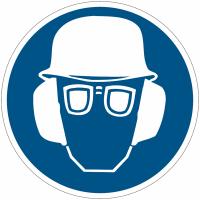 """Panneaux d'obligation """"Casque de protection, lunettes de protection et serre-tête antibruit obligatoires"""""""
