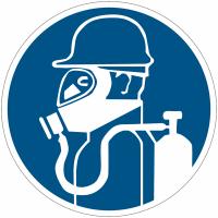 """Panneaux d'obligation """"Protection des voies respiratoires obligatoire par masque à oxygène"""""""