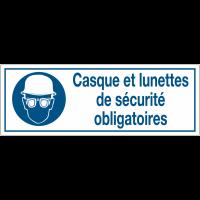 Panneaux d'obligation rectangulaires - Casque et lunettes de sécurité obligatoires