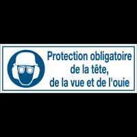 Panneaux d'obligation rectangulaires - Protection obligatoire de la tête, de la vue et de l'ouïe