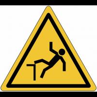 """Panneau en aluminium réfléchissant """"Danger, chute avec dénivellation"""""""