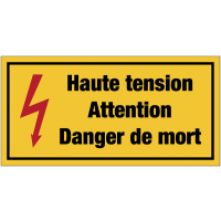 Panneaux de danger électrique rectangulaires - Haute tension attention danger de mort