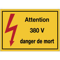 Autocollants de danger électrique rectangulaires - Attention 380 V danger de mort