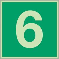 """Panneaux d'évacuation et de secours """"Niveau, étage 6"""""""