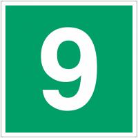 """Panneaux d'évacuation et de secours """"Niveau, étage 9"""""""