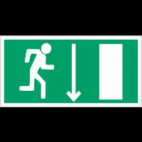 """Panneaux d'évacuation et de secours """"Homme qui court à droite, flèche en bas"""""""