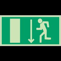 """Panneaux d'évacuation et de secours """"Homme qui court à gauche, flèche en bas"""""""