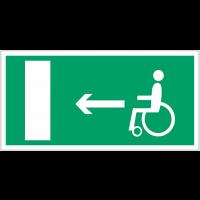 """Panneaux d'évacuation et de secours """"Handicapés, flèche à gauche"""""""