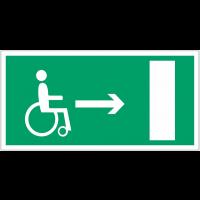 """Panneaux d'évacuation et de secours """"Handicapés, flèche à droite"""""""