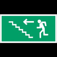 """Panneaux d'évacuation et de secours """"Homme qui monte l'escalier, flèche à gauche"""""""