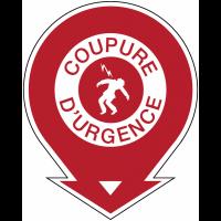 """Panneaux de sécurité et incendie ronds fléchés """"Danger haute tension - coupure d'urgence"""""""