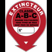 """Panneaux de sécurité et incendie ronds fléchés à compléter """"Extincteur d'incendie - classe A B C"""""""