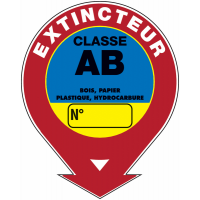 """Panneaux de sécurité et incendie ronds fléchés à compléter """"Extincteur d'incendie - classe A B """""""