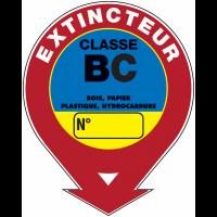 """Panneaux de sécurité et incendie ronds fléchés à compléter """"Extincteur d'incendie - classe B C"""""""