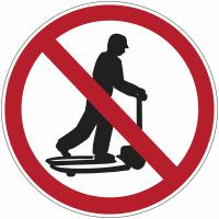 """Mini-pictogrammes d'interdiction """"Ne pas monter sur les chariots"""" en rouleau"""