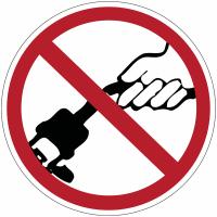 """Mini-pictogrammes d'interdiction """"Ne pas tirer sur le câble"""" en rouleau"""