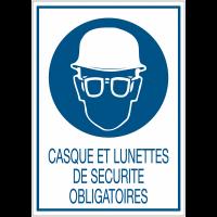 Panneaux de signalisation de sécurité standards - Casque et lunettes de sécurité obligatoires