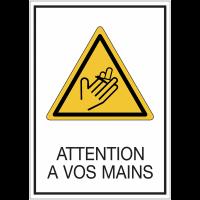 """Panneaux de signalisation de sécurité standards  """"Attention à vos mains - risque de coupure"""""""