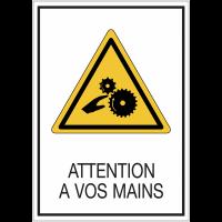 """Panneaux de signalisation de sécurité standards """"Attention à vos mains - risque d'écrasement, rouleaux lisses"""""""