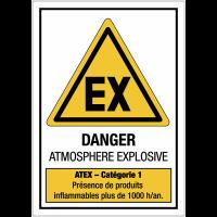 """Panneaux ATEX standards """"Atmosphère explosive - Catégorie 1"""""""