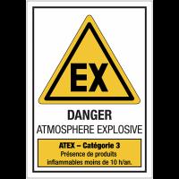"""Panneaux ATEX standards """"Atmosphère explosive - Catégorie 3"""""""
