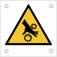 """Plaques de signalisation pour machines """"Risque d'écrasement, rouleaux crantés"""""""