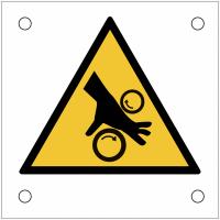 """Plaques de signalisation pour machines """"Risque d'écrasement, rouleaux lisses"""""""