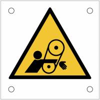 """Plaques de signalisation pour machines """"Danger, risque d'entraînement du bras dans la courroie"""""""