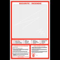 Support en plexiglas pour plan d'évacuation avec texte officiel des consignes générales de sécurité
