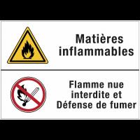 Panneaux duos - Matières inflammables - Flamme nue interdite et défense de fumer