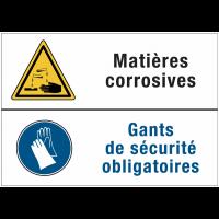 Panneaux duos - Matières corrosives - Gants de sécurité obligatoires