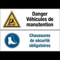 Panneaux duos - Danger véhicules de manutention - Chaussures de sécurité obligatoire