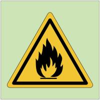 """Panneaux de danger photoluminescent """"Matières inflammables"""""""