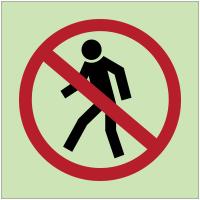 """Panneaux d'interdiction photoluminescent """"Interdit aux piétons"""""""