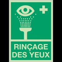 Panneaux de premiers secours photoluminescent - Rinçage des yeux