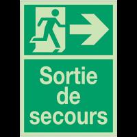 """Panneaux de Sortie de secours photoluminescent """"Homme qui court, flèche à droite"""""""