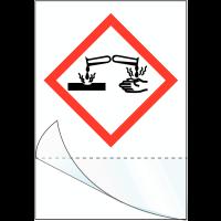 """Etiquettes symboles CLP à compléter """"Matières corrosives"""""""