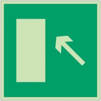 """Panneaux d'évacuation et de secours """"Issue de secours, flèche directionnelle 45° en haut à gauche ou en bas à droite"""""""