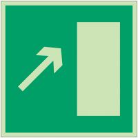 """Panneaux d'évacuation et de secours """"Issue de secours, flèche directionnelle 45° en haut à droite ou en bas à gauche"""""""