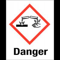 """Etiquettes d'identification des produits dangereux """"Danger - Matières corrosives"""""""