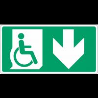 """Panneau d'évacuation """"Handicapés, flèche en bas"""""""